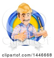 Clipart Of A 3d Male Electrician Worker Holding A Screwdriver And Giving A Thumb Up In A Circle On A White Background Royalty Free Illustration by Texelart