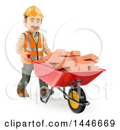 Clipart Of A 3d Male Mason Worker Pushing A Wheelbarrow Of Bricks On A White Background Royalty Free Illustration by Texelart