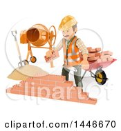 Poster, Art Print Of 3d Male Mason Worker Laying Bricks On A White Background
