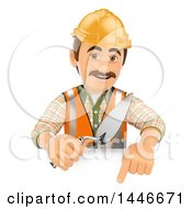 Poster, Art Print Of 3d Male Mason Worker Holding A Trowel Over A Sign On A White Background
