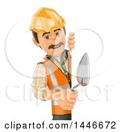 Poster, Art Print Of 3d Male Mason Worker Holding A Trowel Around A Sign On A White Background