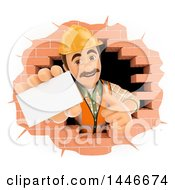 Clipart Of A 3d Male Mason Worker Giving A Thumb Up And Holding Out A Business Card Emerging From A Hole In A Brick Wall On A White Background Royalty Free Illustration
