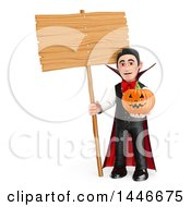 Clipart Of A 3d Dracula Vampire Holding A Jackolantern And Blank Sign On A White Background Royalty Free Illustration