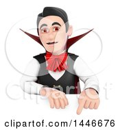 Poster, Art Print Of 3d Dracula Vampire Pointing Down Over A Sign On A White Background