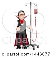 Poster, Art Print Of 3d Dracula Vampire Giving A Thumb Up Hooked Up To A Blood Bag On A White Background