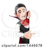 Poster, Art Print Of 3d Dracula Vampire Pointing Around A Sign On A White Background