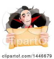 Clipart Of A 3d Dracula Vampire Emerging From A Hole And Holding Out A Blank Scroll On A White Background Royalty Free Illustration