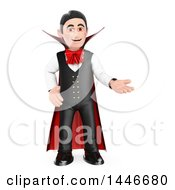 Clipart Of A 3d Dracula Vampire Presenting On A White Background Royalty Free Illustration
