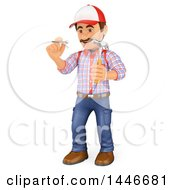 Poster, Art Print Of 3d Caucasian Worker Handy Man Holding A Nail And Hammer On A White Background