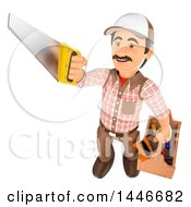 Poster, Art Print Of 3d Male Carpenter Worker Holding Up A Saw And Carrying A Tool Box On A White Background