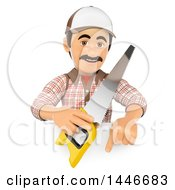 Poster, Art Print Of 3d Male Carpenter Holding A Saw Over A Sign On A White Background