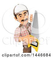 3d Male Carpenter Holding A Saw Around A Sign On A White Background