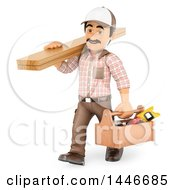 3d Male Carpenter Carrying Lumber And A Tool Box On A White Background
