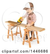 Clipart Of A 3d Male Carpenter Cutting A Board With A Saw On A White Background Royalty Free Illustration