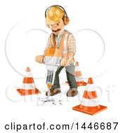 Clipart Of A 3d Construction Worker Operating A Jackhammer On A White Background Royalty Free Illustration