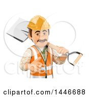 Poster, Art Print Of 3d Construction Worker Giving A Thumb Up And Holding A Shovel Over His Shoulder On A White Background