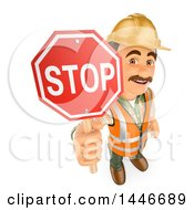 3d Construction Worker Holding Up A Stop Sign On A White Background