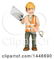 3d Construction Worker Carrying A Shovel On A White Background