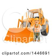 3d Construction Worker Giving A Thumb Up By An Orange Backhoe On A White Background