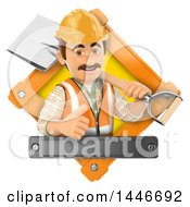 3d Construction Worker In A Diamond Giving A Thumb Up And Holding A Shovel Over His Shoulder On A White Background