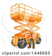 3d Construction Worker Giving A Thumb Up By A Scissor Lift On A White Background