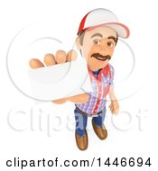 3d Caucasian Worker Handy Man Holding Out A Business Card On A White Background