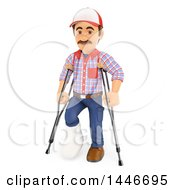3d Caucasian Worker Handy Man With A Cast And Crutches On A White Background