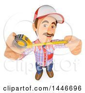 3d Caucasian Worker Handy Man Using A Tape Measure On A White Background