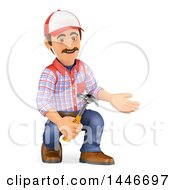 3d Caucasian Worker Handy Man Presenting And Holding A Hammer On A White Background