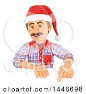 Poster, Art Print Of 3d Caucasian Worker Handy Man Wearing A Christmas Santa Hat And Pointing Over A Sign On A White Background