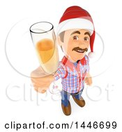 3d Caucasian Worker Handy Man Wearing A Christmas Santa Hat And Toasting With Champagne On A White Background