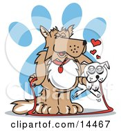 Big Dog Carrying A Little White Dog On A Leash Clipart Illustration by Andy Nortnik