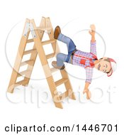3d Caucasian Worker Handy Man Falling Off Of A Ladder On A White Background