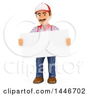 Poster, Art Print Of 3d Caucasian Worker Handy Man Holding A Blank Sign On A White Background
