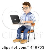 Poster, Art Print Of 3d Caucasian Teenage Guy Using A Laptop At A Desk On A White Background