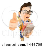 Poster, Art Print Of 3d Caucasian Teenage Guy Holding Books And Giving A Thumb Up On A White Background