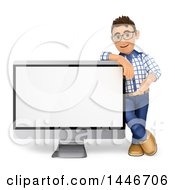 Poster, Art Print Of 3d Caucasian Teenage Guy Leaning On And Presenting A Giant Blank Screen On A White Background