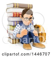 Poster, Art Print Of 3d Sad Caucasian Teenage Guy Leaning Against A Satck Of Books On A White Background