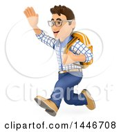 Poster, Art Print Of 3d Caucasian Teenage Guy Running And Holding Up A Hand On A White Background