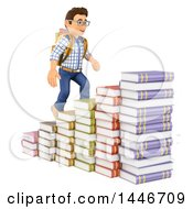 Poster, Art Print Of 3d Caucasian Teenage Guy Climbing Steps Made Of Stacked Books On A White Background