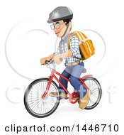 Poster, Art Print Of 3d Caucasian Teenage Guy Riding A Bicycle On A White Background