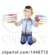 Poster, Art Print Of 3d Caucasian Teenage Guy Kneeling And Holding Books On A White Background