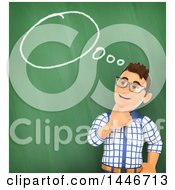 Poster, Art Print Of 3d Caucasian Teenage Guy Thinking Against A Chalkboard With A Speech Bubble