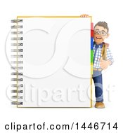 Clipart Of A 3d Caucasian Teenage Guy Giving A Thumb Up Around A Notebook On A White Background Royalty Free Illustration