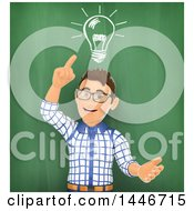 Poster, Art Print Of 3d Caucasian Teenage Guy Against A Chalkboard With A Light Bulb