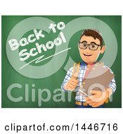 Clipart Of A 3d Caucasian Teenage Guy Against A Chalkboard With Back To School Text Royalty Free Illustration by Texelart