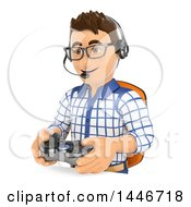 Clipart Of A 3d Caucasian Teenage Guy Playing A Video Game On A White Background Royalty Free Illustration