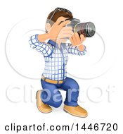 Clipart Of A 3d Caucasian Teenage Guy Taking Pictures With An SLR Camera On A White Background Royalty Free Illustration by Texelart