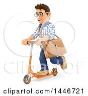 Clipart Of A 3d Caucasian Teenage Guy With A Bag On A Scooter On A White Background Royalty Free Illustration