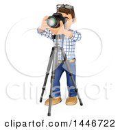 Clipart Of A 3d Male Photographer Using A Camera On A Tripod On A White Background Royalty Free Illustration